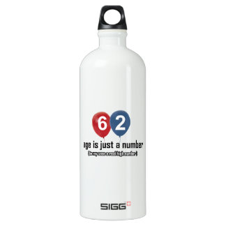 62 year old nothing but a number designs aluminum water bottle