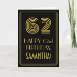 """[ Thumbnail: 62nd Birthday: Art Deco Inspired Look """"62"""" & Name Card ]"""