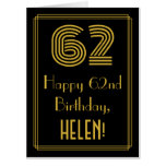 """[ Thumbnail: 62nd Birthday: Art Deco Inspired Look """"62"""" + Name Card ]"""