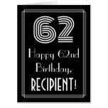 """[ Thumbnail: 62nd Birthday — Art Deco Inspired Look """"62"""" + Name Card ]"""