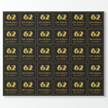 """[ Thumbnail: 62nd Birthday – Art Deco Inspired Look """"62"""" & Name Wrapping Paper ]"""