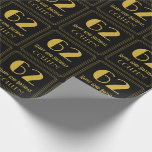 """[ Thumbnail: 62nd Birthday ~ Art Deco Inspired Look """"62"""", Name Wrapping Paper ]"""