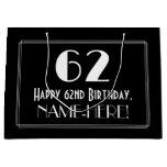 "[ Thumbnail: 62nd Birthday: Art Deco Inspired Style ""62"", Name Gift Bag ]"