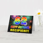 [ Thumbnail: 62nd Birthday: Bold, Fun, Fireworks, Rainbow 62 Card ]