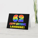 [ Thumbnail: 62nd Birthday: Bold, Fun, Simple, Rainbow 62 Card ]