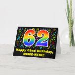 [ Thumbnail: 62nd Birthday: Colorful Music Symbols & Rainbow 62 Card ]