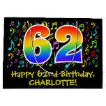 [ Thumbnail: 62nd Birthday - Colorful Music Symbols, Rainbow 62 Gift Bag ]