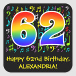 [ Thumbnail: 62nd Birthday: Colorful Music Symbols, Rainbow 62 Sticker ]