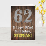 [ Thumbnail: 62nd Birthday: Country Western Inspired Look, Name Card ]