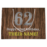 [ Thumbnail: 62nd Birthday: Country Western Inspired Look, Name Gift Bag ]