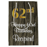 [ Thumbnail: 62nd Birthday: Elegant Faux Gold Look #, Faux Wood Gift Bag ]