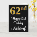[ Thumbnail: 62nd Birthday ~ Elegant Luxurious Faux Gold Look # Card ]