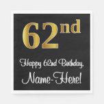 [ Thumbnail: 62nd Birthday ~ Elegant Luxurious Faux Gold Look # Napkins ]
