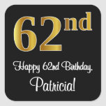 [ Thumbnail: 62nd Birthday – Elegant Luxurious Faux Gold Look # Sticker ]