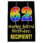 "[ Thumbnail: 62nd Birthday: Fun, Bold, Colorful, Rainbow ""62"" Gift Bag ]"