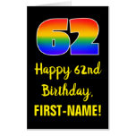 [ Thumbnail: 62nd Birthday: Fun, Colorful, Happy, Rainbow # 62 Card ]