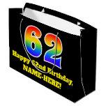 [ Thumbnail: 62nd Birthday ~ Fun, Colorful, Vibrant, Rainbow 62 Gift Bag ]