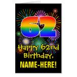 [ Thumbnail: 62nd Birthday: Fun Fireworks Pattern & Rainbow 62 Card ]