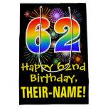 [ Thumbnail: 62nd Birthday: Fun Fireworks Pattern + Rainbow 62 Gift Bag ]