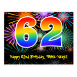 [ Thumbnail: 62nd Birthday – Fun Fireworks Pattern + Rainbow 62 Postcard ]