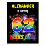 "[ Thumbnail: 62nd Birthday - Fun Fireworks, Rainbow Look ""62"" Postcard ]"