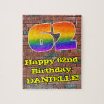 [ Thumbnail: 62nd Birthday: Fun Graffiti-Inspired Rainbow 62 Jigsaw Puzzle ]