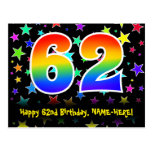 [ Thumbnail: 62nd Birthday: Fun Stars Pattern, Rainbow 62, Name Postcard ]