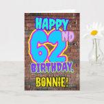[ Thumbnail: 62nd Birthday - Fun, Urban Graffiti Inspired Look Card ]
