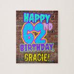 [ Thumbnail: 62nd Birthday ~ Fun, Urban Graffiti Inspired Look Jigsaw Puzzle ]
