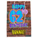 [ Thumbnail: 62nd Birthday: Fun, Urban Graffiti Inspired Look Gift Bag ]