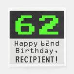 "[ Thumbnail: 62nd Birthday - Nerdy / Geeky Style ""62"" & Name Napkins ]"