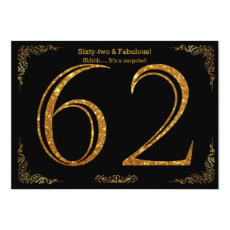 62nd Birthday party,Gatsby styl,black gold glitter Card