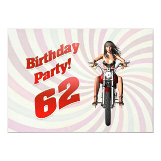 62nd birthday party with a girl on a motorbike card