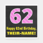 "[ Thumbnail: 62nd Birthday: Pink Stripes and Hearts ""62"" + Name Napkins ]"
