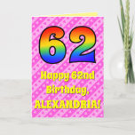 [ Thumbnail: 62nd Birthday: Pink Stripes & Hearts, Rainbow # 62 Card ]