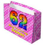 [ Thumbnail: 62nd Birthday: Pink Stripes & Hearts, Rainbow # 62 Gift Bag ]