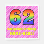 [ Thumbnail: 62nd Birthday: Pink Stripes & Hearts, Rainbow # 62 Napkins ]
