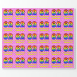 [ Thumbnail: 62nd Birthday: Pink Stripes & Hearts, Rainbow # 62 Wrapping Paper ]