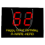 "[ Thumbnail: 62nd Birthday: Red Digital Clock Style ""62"" + Name Gift Bag ]"
