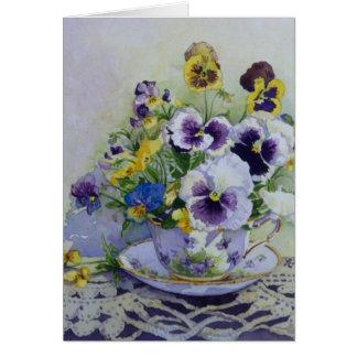 6300 Pansies in Teacup Birthday Card