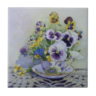 6300 Pansies in Teacup Ceramic Tile