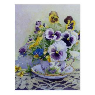 6300 Pansies in Teacup Postcard