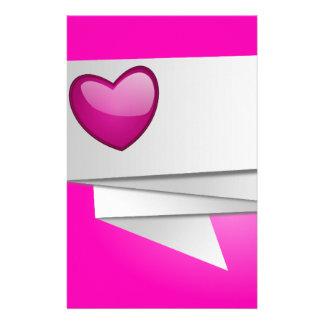 630968HOT PINK HEART RIBBON LOVE FLIRTING HAPPY BR STATIONERY