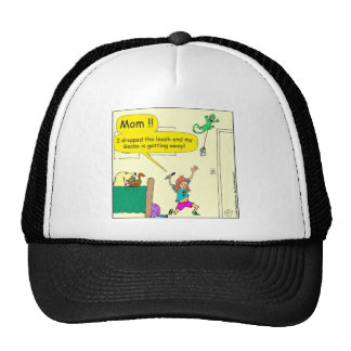 630 gecko floss leash cartoon trucker hat