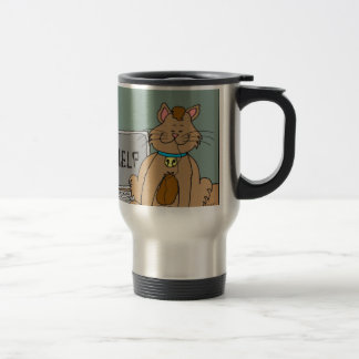631 Cat ate computer mouse cartoon 15 Oz Stainless Steel Travel Mug