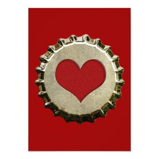 """6375_red-heart-bottle-cap-topGraphic CORAZÓN ROJO Invitación 5"""" X 7"""""""
