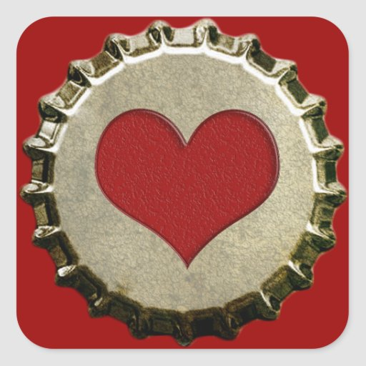 6375_red-heart-bottle-cap-topGraphic CORAZÓN ROJO Pegatina Cuadrada
