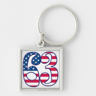 63 Age USA Silver-Colored Square Keychain