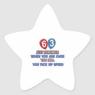 63 and over the hill birthday designs star sticker