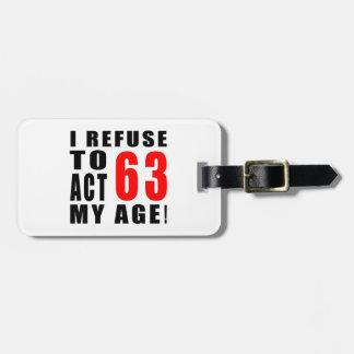 63 birthday design bag tags